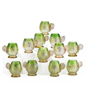 Enameled glass handled mugs set of twelve green shaded to pink with applied handles gilded floral and leaf decoration continental early 20th c 3 12 x 4 14
