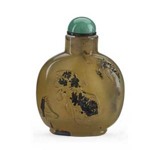 Chinese snuff bottle shadow agate decorated with a lion in flight and bird 19th c 2 34 x 1 34