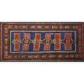 Caucasian kazak oriental area rug repeating geometric design on blue ground ca 1960 48 x 98