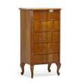 Biedermeier tall chest of drawers birch seprentine form with five drawers cabriole legs austrian mid 19th c 45 x 25 12 x 18