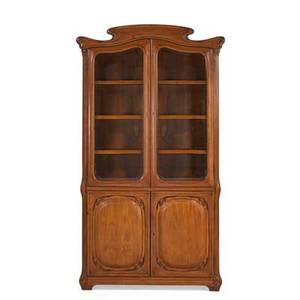 Art nouveau style display case walnut beveled glass doors over paneled doors european early 20th c 91 12 x 48 x 17 12