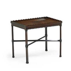 George iii tea table mahogany gallery top clustered columna xstretcher late 18th c 29 x 33 x 21 12