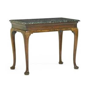 George ii console table mahogany with later green marble top mid 18th c 32 x 39 12 x 22