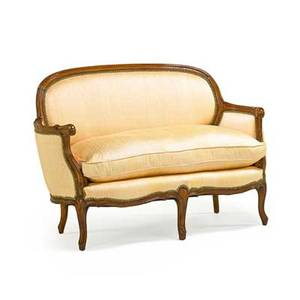 Louis xv style loveseat walnut frame with loose cushion cabriole legs 20th c 33 x 40 14 x 29 12