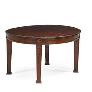 George iii style dining room table mahogany tapered leg with spade feet 20th c two 19 34 associated leaves 29 12 x 53 x 46 12