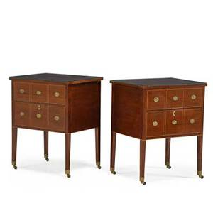 Pair of baltic neoclassical style commodes mahogany with inlay brass pulls late 19th c 31 34 x 25 x 20