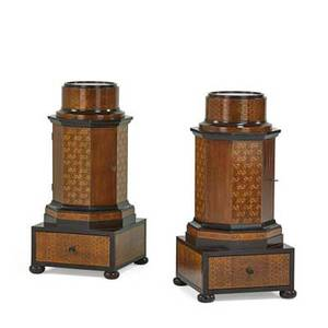 Pair of charles x style pot cupboards painted mahogany and marquetry octagonal form with bun feet 20th c 36 x 14 x 14 provenance estate of a private collector new york