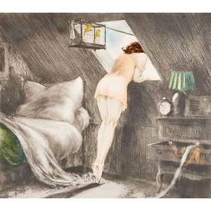 Louis icart french 18881950 etching on paper attic room 1940 framed signed with windmill stamp 16 14 x 20 12 sight