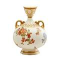 Royal worcester porcelain two handled vase flaring neck with floral spray decoration and gilt highlights ca 1889 marked 11 12
