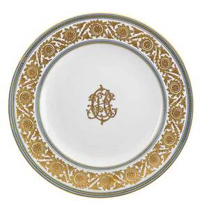 Austrian porcelain plates set of eighteen gilded center monogram elaborate grape leaf border austria early 20th c marked ernst wahliss vienna 9 34 dia