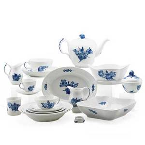 Royal copenhagen porcelain one hundred and fourteen piece service including twelve salad plates six bread plates nine soup bowls twenty four teacups and saucers six demitasse cups and saucers c