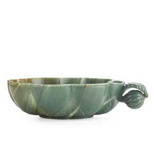 Mughal style carved jade bowl lotus form with fruit and leaf handle 20th c 2 x 8 12 x 7