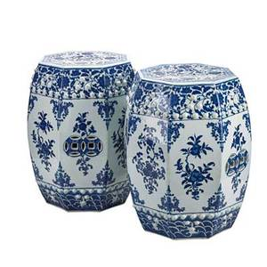 Pair of chinese export porcelain garden seats blue and white decoration each of octagonal form 20th c 18 12
