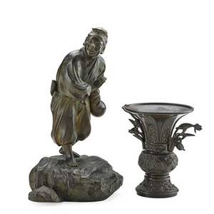 Japanese meiji bronzes two pieces statue of a woodsman a two handled vase late 19thearly 20th c both signed woodsman 12 x 5 34 x 7