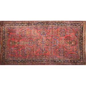 Sarouk oriental room size rug all over floral pattern on red ground early 20th c 243 x 148