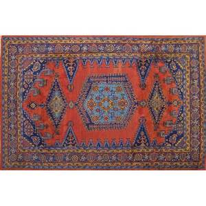 Mahal oriental room size rug red central medalian with all over blue floral designs mid 20th c 160 x 125
