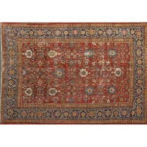 Heriz oriental rug geometric design on red ground mid 20th c 175 x 134