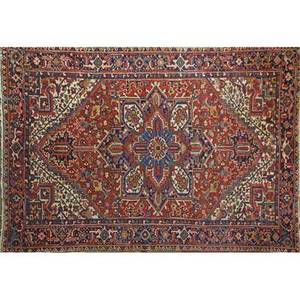Heriz oriental rug geometric design on red ground mid 20th c 128 x 87