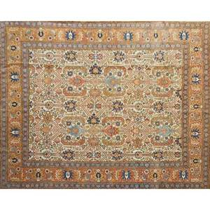Oriental room size rug geometric design on beige ground late 20th c 135 x 103 12
