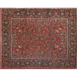 Sarouk oriental room size rug all over floral pattern on red ground mid 20th c 109 x 147