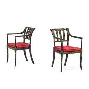 Pair george iii open armchairs ebonized with gilt decoration cane seats early 19th c 32 12 x 20 12 x 21