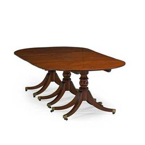 George iii style dining table mahogany triple pedestal two leaves 19th c 28 12 x 87 x 51 12