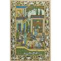 Mughal painting watercolor on silk of courtyard scene early 20th c framed 34 12 x 22 34 sheet