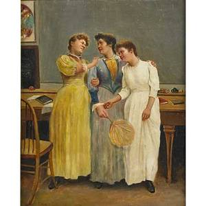 Portrait of three victorian women oil on canvas 1896 framed signed ch warren and dated 20 x 16 18 provenance estate of a private collector new york