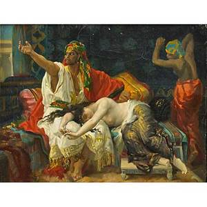 Marie rodigue french 1920th c oil on canvas of an orientalist scene with figures in deshabille late 19th c gilt frame signed 9 34 x 13 provenance estate of a private collector new yo