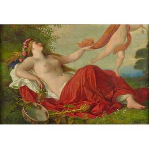 Julius muhr german 18191865 oil on canvas of venus and cupid framed signed 26 78 x 39 12 provenance estate of a private collector new york