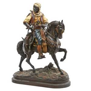 After emile coriolan hippolyte guillemin french 18411907 coldpainted spelter sculpture of a bedouin prince on horseback inscribed e guillemin barye fils 32 x 24