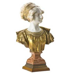 Affortunato gory french 18951925 carved white marble and gilt bronze bust of a young woman on varigated marble base signed a gory 21 12 x 14 x 6