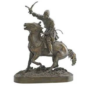 After evgeny alexandrovich lanceray russian 18481866 falconer bronze sculpture signed in cryllic 19 14 x 16 x 7
