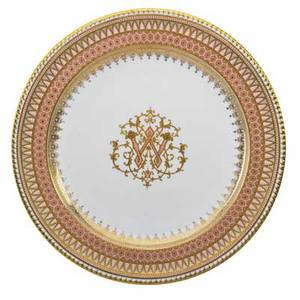 Copeland porcelain plates set of eighteen coalport central pink and gilt monogram gilt and enamel border early 20th c marked copeland china london 10 dia