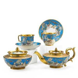 Russian porcelain tea service partial six pieces with foliate scrolls on gilt and bleu celeste ground comprising tea pot covered sugar bowl two cups and saucers kornilov st petersburg 19th