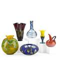 Contemporary art glass six items silver gilt bulbous blue vase blue swirl gourdshaped vase pink ewer yellow vase with iridescent blue base yellow and green bulbous vase and amethyst vase with g