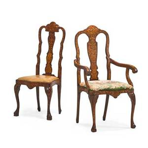 Two dutch marquetry rococo chairs walnut one arm and one side both with upholstered seats and cabriole legs continental 19th c larger 45 12 x 19 x 17