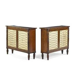 Pair of regency side cabinets mahogany each with grille work doors 19th c 35 12 x 45 x 12 provenance estate of a private collector new york
