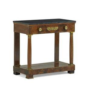 Empire side table gilt bronze mounted mahogany one drawer above columnar supports continental ca 1810 30 x 32 x 16 provenance estate of a private collector new york