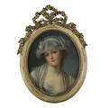 Continental portrait pastel on paper of young lady framed 16 14 x 13 sight