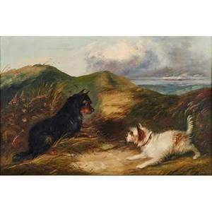J langlois british 19th c oil on canvas of a black and a white terrier framed signed 19 12 x 29 12