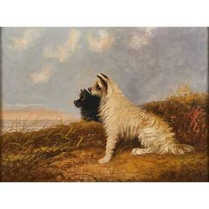 W warren 19th20th c oil on canvas seaside scene with black and white terriers framed signed 15 x 20