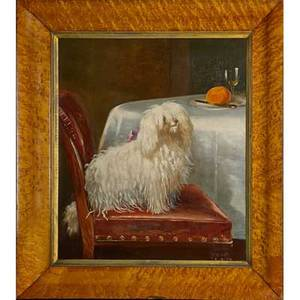 English school portrait of puli oil on canvas of dog seated at table early 20th c framed 30 x 25 provenance estate of a private collector new york