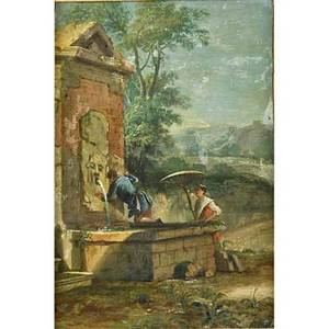 Italian school painting oil on canvas two figures at well 18th c framed 15 14 x 10 14 provenance the gary david goldberg estate