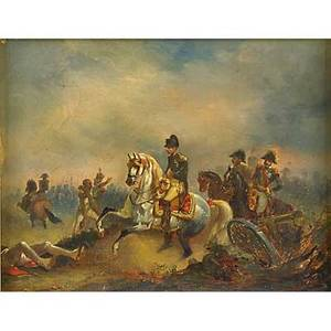 Francois aime louis dumolin french 17531834 oil on canvas of napoleon bonaparte on horseback postbattle early 19th c framed signed 9 12 x 7 12 provenance estate of a private co