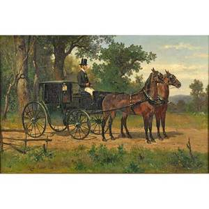 Carl rudolph huber austrian 18391896 oil on canvas carriage with pair of chestnuts 1866 framed signed and dated 20 12 x 31