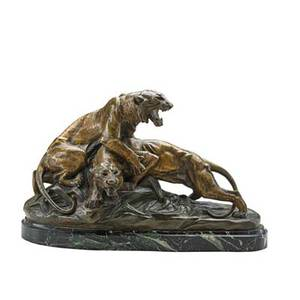 Edouard drouot french 18591945 bronze sculpture of tigers in combat on marble base 19th20th c foundry mark illegible signed 12 14 x 20 x 7 12