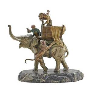 Vienna bronze elephant polychrome coldpainted hunter shooting a tiger on marble base austria early 20th c 10 x 9 x 5 12