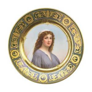 Royal vienna porcelain plate portrait of ruth austria early 20th c artist signed graf beehive mark 9 38