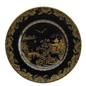 Crown staffordshire porcelain plates set of twelve chinoiserie design on black ground england ca 1900 all marked 9 dia